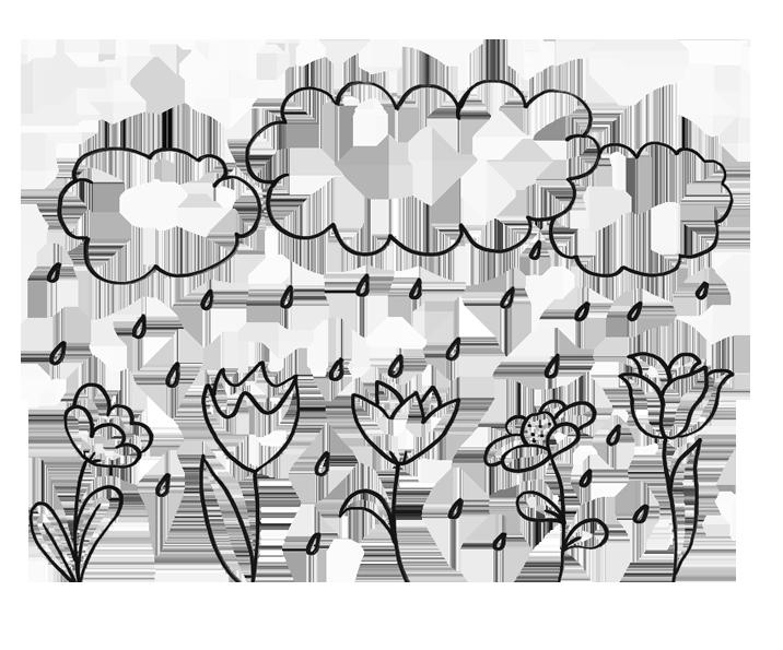 Lietus mākonis un puķes