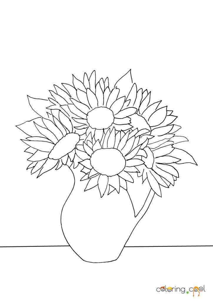 Saulespuķes vāzē